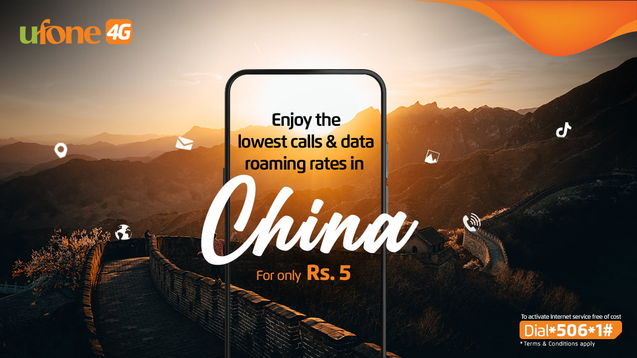 Ufone prepaid roaming service in China